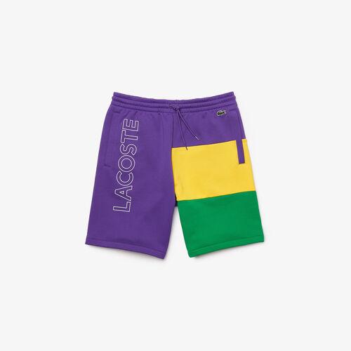 Men's Lettered Colorblock Fleece Bermuda Shorts