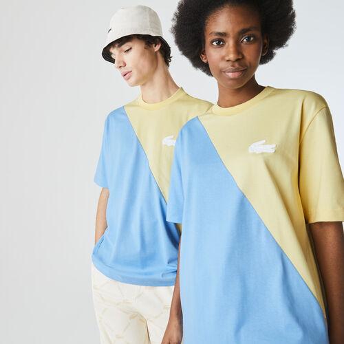 Unisex Lacoste Live Loose Fit Bicolour Cotton T-shirt