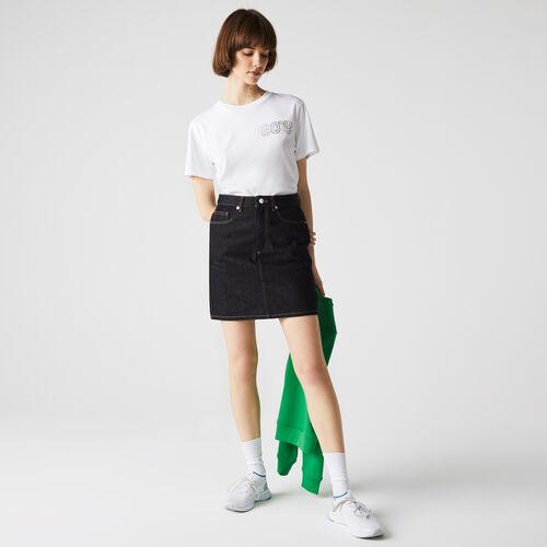 Women's Straight Mid-length Denim Skirt