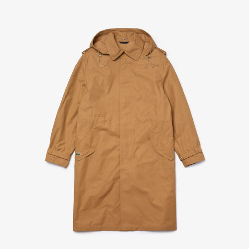 Unisex Solid Lightweight Canvas Trench Coat