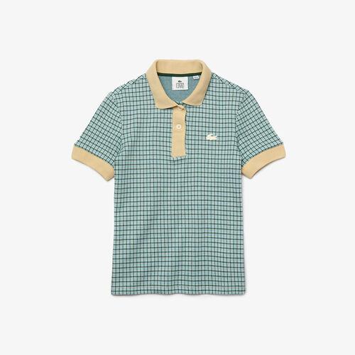 Women's Lacoste L!ve Slim Fit Checkered Cotton Blend Polo