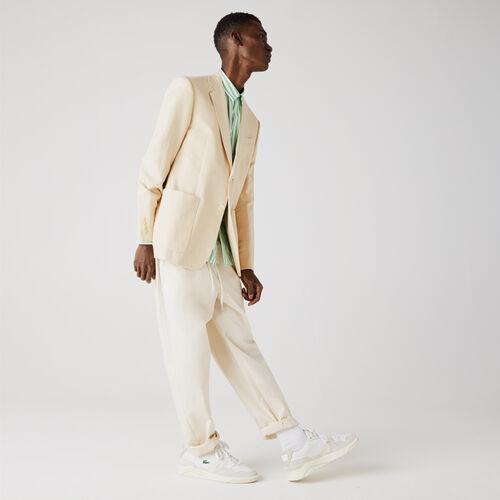 Men's Straight Fit Cotton And Linen Blend Blazer