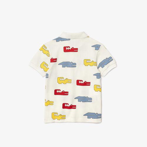 Boys' Lacoste Crocodile Print Cotton Piqué Regular Fit Polo