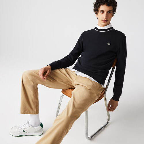 Men's Crew Neck Striped Organic Cotton Sweater