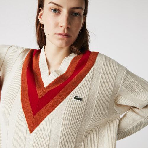 Women's V-neck Striped Textured Wool Sweater