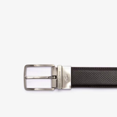 Men's Lacoste Engraved Buckle Texturised Leather Belt