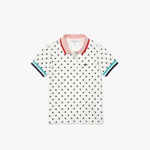 Girls' Lacoste Polka Dot Print Cotton Piqué Polo