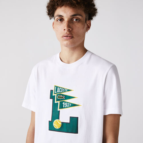 Men's Crew Neck Pennants L Badge Cotton T-shirt