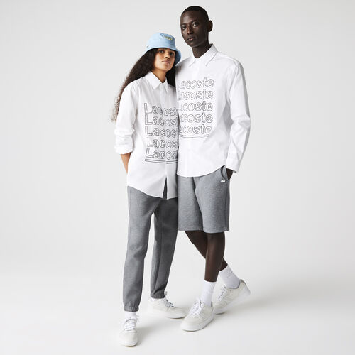 Unisex Lacoste L!ve Relaxed Fit Print Poplin Shirt