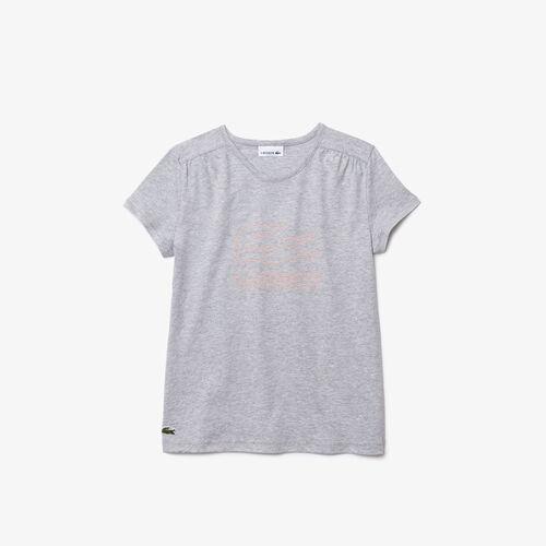 Girls' Crew Neck Printed Cotton T-shirt