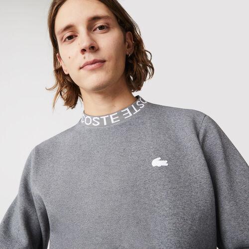 Men's Lacoste Lettered Crew Neck Cotton Blend Sweatshirt