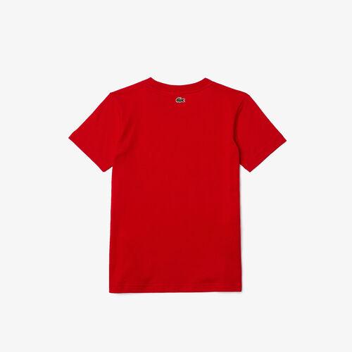 Boys' Crew Neck Crocodile Print Cotton T-shirt