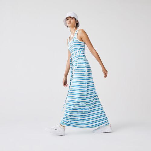 Women's Long Striped Cotton Tank Top Dress