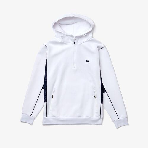 Men's Hooded Bimaterial Stretch Cotton Sweatshirt