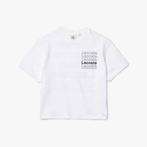 Women's Lacoste L!ve Crew Neck Loose Print Cotton T-shirt