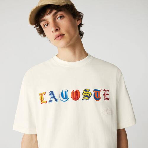 Men's Lacoste L!ve Loose Fit Branded Multi-color Cotton T-shirt