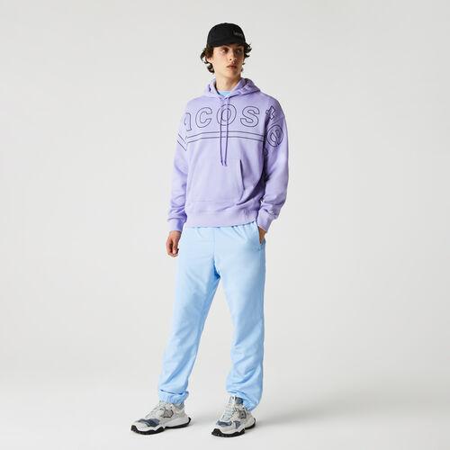 Men's Lacoste L!ve Loose Fit Hooded Print Fleece Sweatshirt