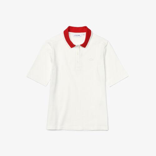 Women's Lacoste Slim Fit Colored Neck Stretch Cotton Piqué Polo