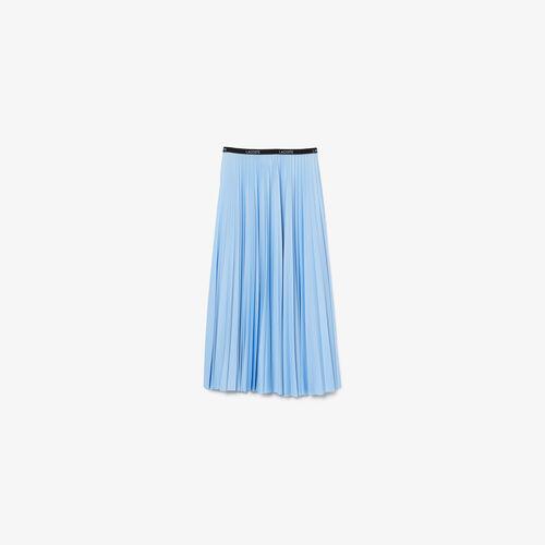 Women's Lacoste Lettered Waist Mid-length Pleated Skirt