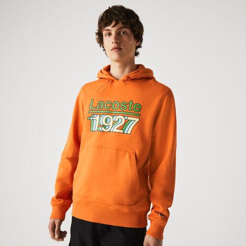 Men's Vintage Printed Hooded Fleece Sweatshirt