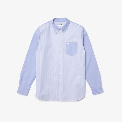 Men's Heritage Regular Fit Patchwork Striped Oxford Cotton Shirt