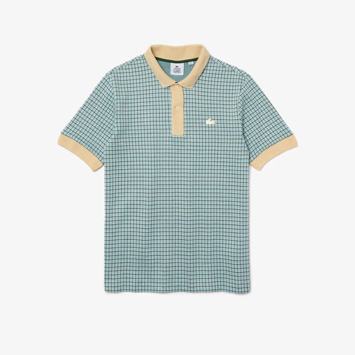 Men's Lacoste L!ve Relaxed Fit Checkered Cotton Blend Polo