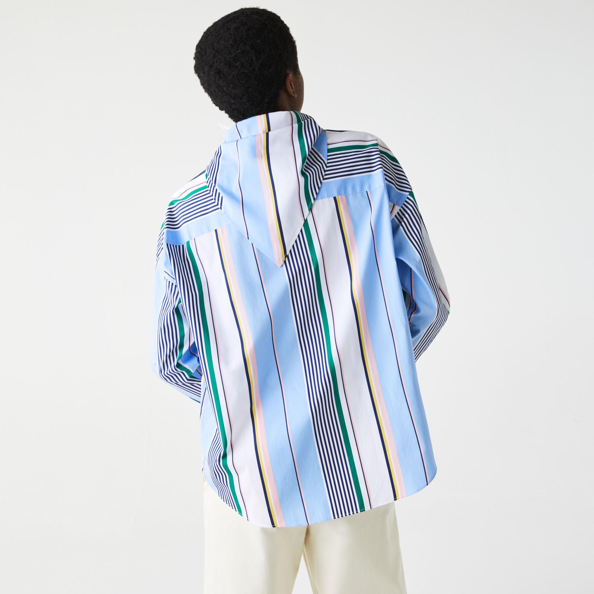 Women's Lacoste LIVE Classic Fit Scarf Neck Striped Cotton Shirt