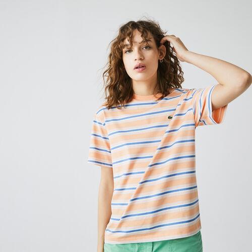 Women's Crew Neck Striped Cotton T-shirt