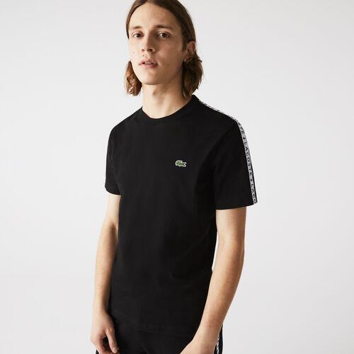 Men's Crew Neck Print Striped Cotton T-shirt
