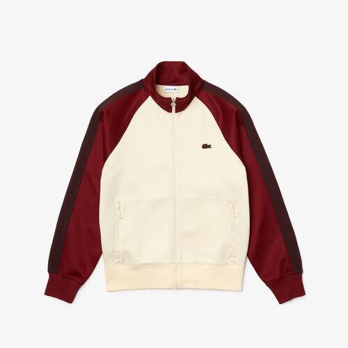 Men's Colorblock Zippered High Neck Cotton Blend Sweatshirt