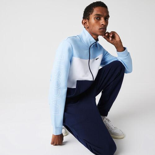 Men's Printed Colorblock Fleece Tracksuit