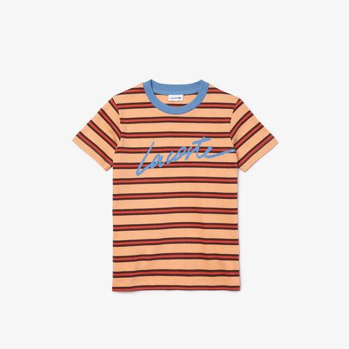Boys' Crew Neck Striped Lightweight Cotton T-shirt