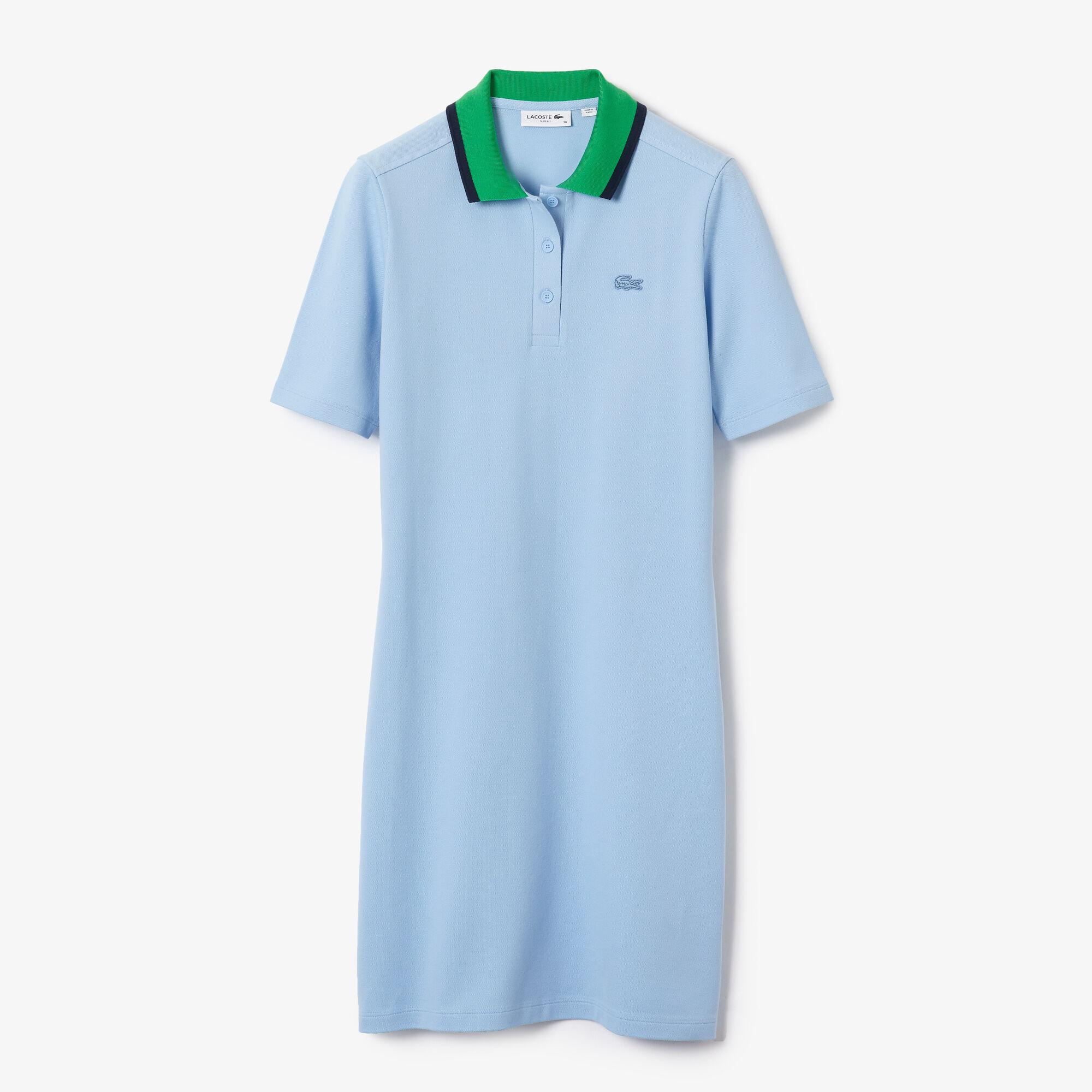 Women's Contrast Collar Stretch Cotton Piqué Polo Dress
