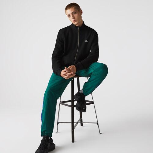 Men's Zippered Stand-up Collar Piqué Fleece Jacket