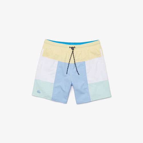 Men's Colourblock Recycled Cloth Long Swimming Trunks