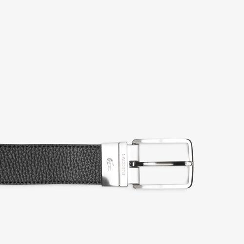 Men's Lacoste Engraved Buckle Grained Leather Belt