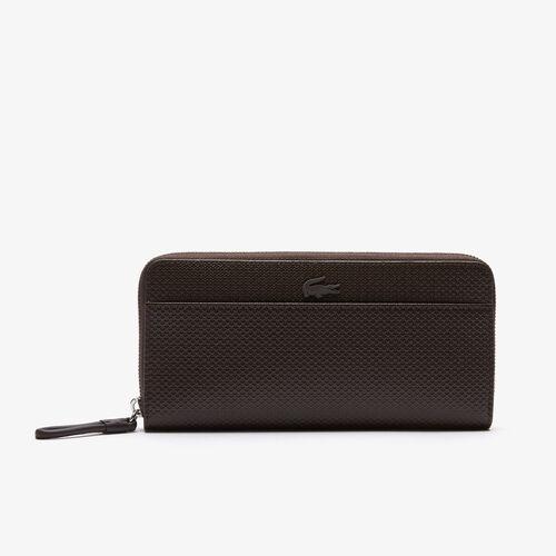 Women's Chantaco Large Zippered Matte Piqué Leather Wallet