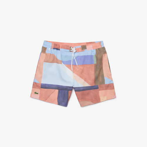 Men's Lace-up Waist Print Swimming Trunks