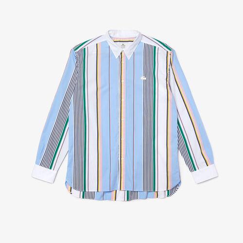 Men's Lacoste Live Relaxed Fit Mismatched Stripes Cotton Shirt