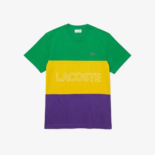 Men's Crew Neck 3d Lettered Colorblock Cotton T-shirt