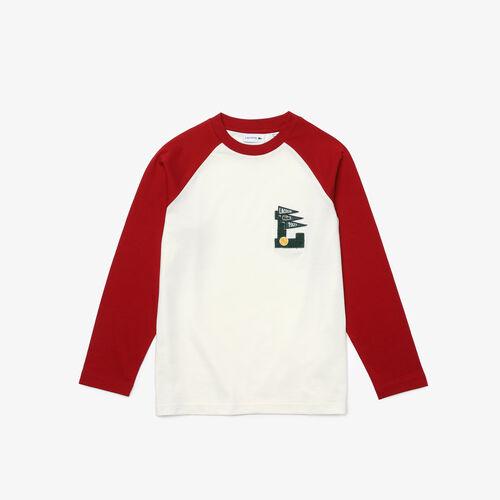 Boys' Long-sleeved Dual-color Cotton T-shirt