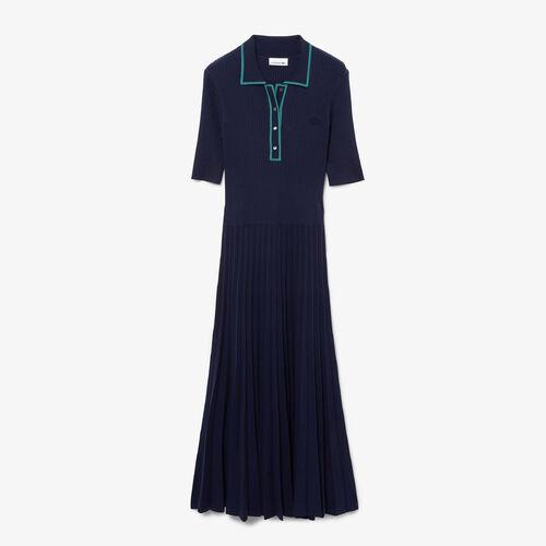 Women's Pleated Knit Polo Dress