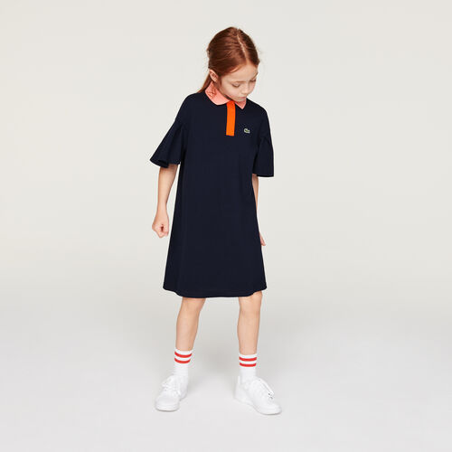 Girls' Flounced Sleeve Cotton Polo Dress