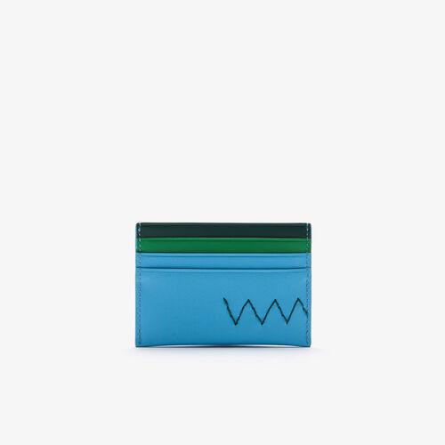 Men's Overstitched Tricolor Smooth Leather Card Holder