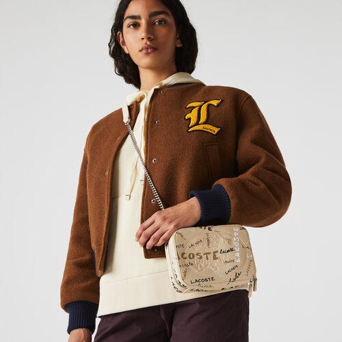 Women's Croco Crew Print Grained Leather Zip Shoulder Bag