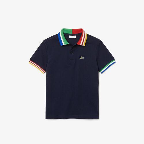 Boys' Lacoste Striped Accents Cotton Piqué Polo