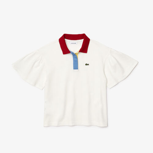 Girls' Lacoste Flounce Sleeved Cotton Relaxed Fit Polo