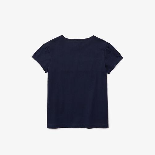 Girls' Crew Neck Puff Sleeved Striped Cotton T-shirt